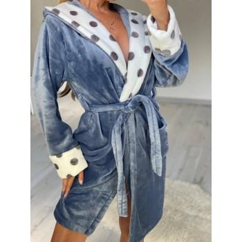 Женский теплый домашний халат велсофт Серые Горохи фото 1