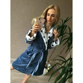 Женский теплый домашний халат велсофт Серые Горохи фото 8