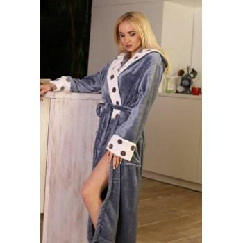 Женский теплый домашний халат велсофт Серые Горохи фото 7