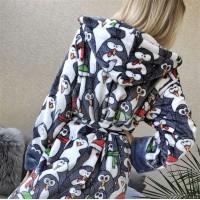 Халат женский микрофибра Веселые Пингвины