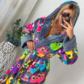 Халат женский домашний Разноцветные Совы