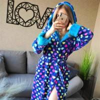 Женский домашний халат Разноцветные Сердечки велсофт