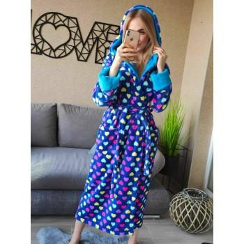Женский домашний халат Разноцветные Сердечки велсофт фото 1