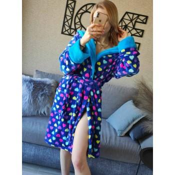 Женский домашний халат Разноцветные Сердечки велсофт фото 2