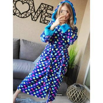 Женский домашний халат Разноцветные Сердечки велсофт фото 3