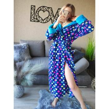 Женский домашний халат Разноцветные Сердечки велсофт фото 4