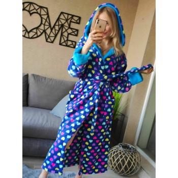 Женский домашний халат Разноцветные Сердечки велсофт фото 5