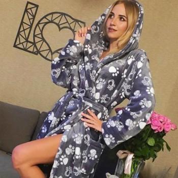 Женский домашний халат Кошачьи Лапки велсофт 2147 от Modnyashka в интернет-магазине PannaTeks