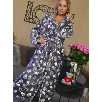 Женский домашний халат Кошачьи Лапки велсофт фото 9