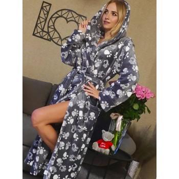 Женский домашний халат Кошачьи Лапки велсофт фото 7