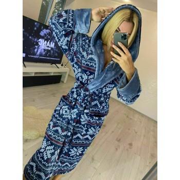 Женский домашний халат Синий Орнамент фото 1