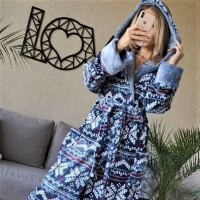 Женский домашний халат Синий Орнамент