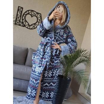 Женский домашний халат Синий Орнамент фото 4
