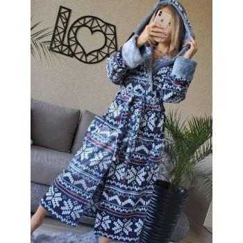 Женский домашний халат Синий Орнамент фото 7