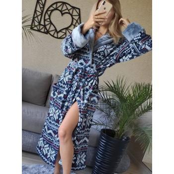 Женский домашний халат Синий Орнамент фото 5
