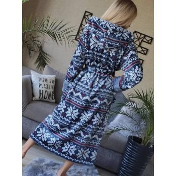 Женский домашний халат Синий Орнамент фото 3
