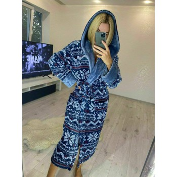 Женский домашний халат Синий Орнамент фото 6