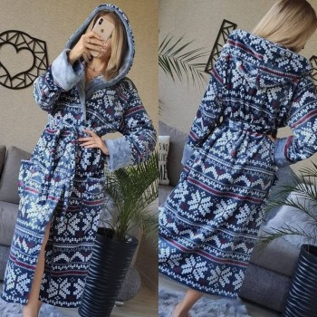 Женский домашний халат Синий Орнамент фото 8