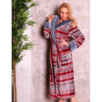 Женский домашний халат Красный Орнамент фото 5