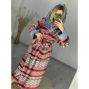 Женский домашний халат Красный Орнамент фото 2