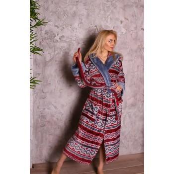 Женский домашний халат Красный Орнамент фото 3