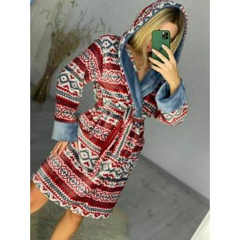 Женский домашний халат Красный Орнамент фото 1
