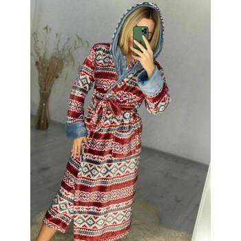 Женский домашний халат Красный Орнамент фото 6