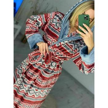 Женский домашний халат Красный Орнамент фото 7