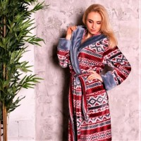 Женский домашний халат Красный Орнамент