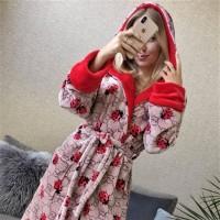 Женский теплый халат с капюшоном Божья Коровка