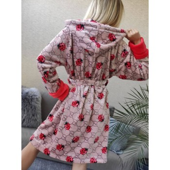 Женский теплый халат с капюшоном Божья Коровка фото 3