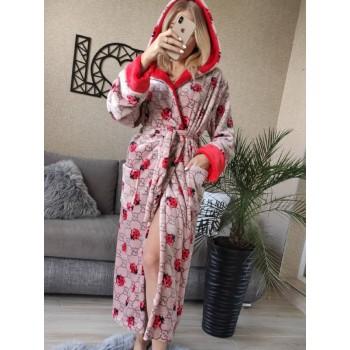 Женский теплый халат с капюшоном Божья Коровка фото 5