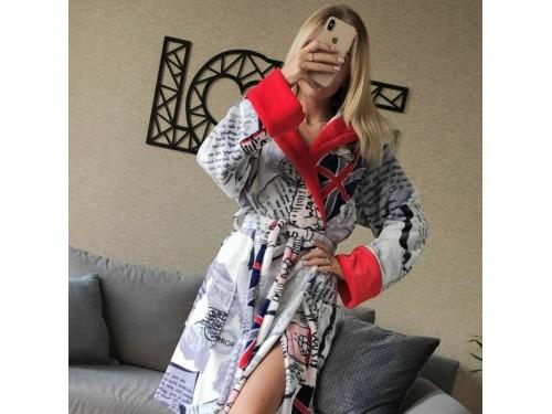 Женский домашний халат с капюшоном Британия 2155 от Modnyashka в интернет-магазине PannaTeks