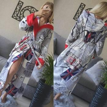 Женский домашний халат с капюшоном Британия фото 8