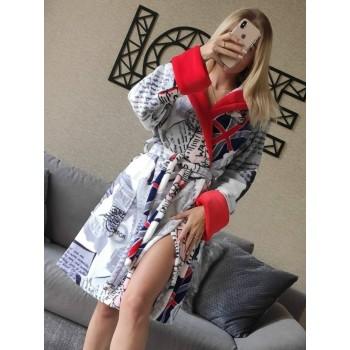 Женский домашний халат с капюшоном Британия фото 1