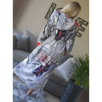Женский домашний халат с капюшоном Британия фото 5