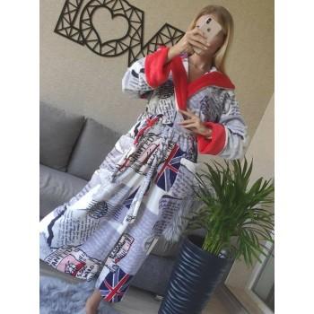 Женский домашний халат с капюшоном Британия фото 6