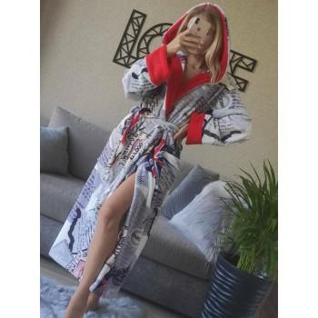 Женский домашний халат с капюшоном Британия фото 9