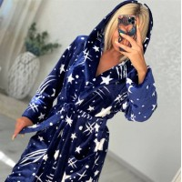 Женский домашний халат с капюшоном Космос