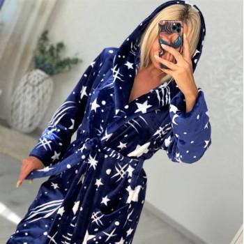 Женский домашний халат с капюшоном Космос 2157 от Modnyashka в интернет-магазине PannaTeks