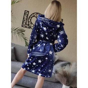 Женский домашний халат с капюшоном Космос фото 5