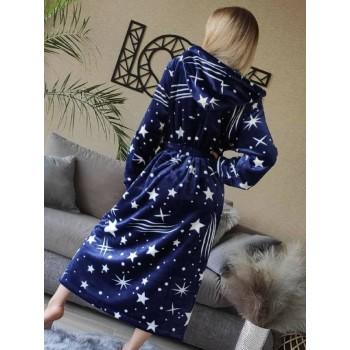 Женский домашний халат с капюшоном Космос фото 8
