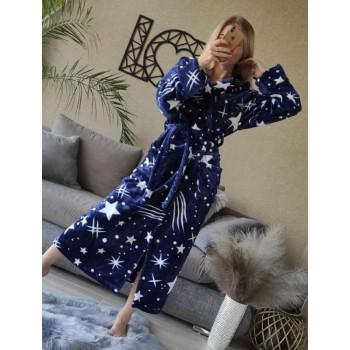 Женский домашний халат с капюшоном Космос фото 7