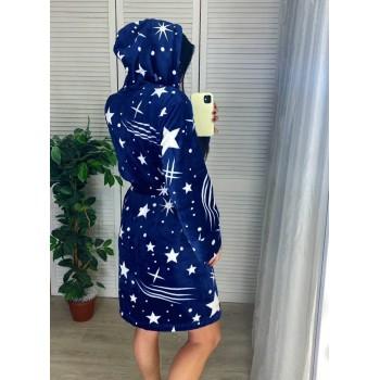 Женский домашний халат с капюшоном Космос фото 3