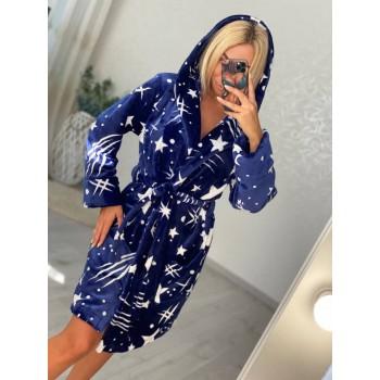 Женский домашний халат с капюшоном Космос фото 1