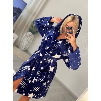 Женский домашний халат с капюшоном Космос фото 4