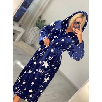 Женский домашний халат с капюшоном Космос фото 6