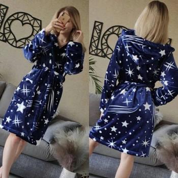 Женский домашний халат с капюшоном Космос фото 10