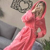 Женский домашний халат с капюшоном Розовый с Цветами