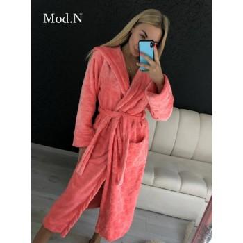 Женский домашний халат с капюшоном Розовый с Цветами фото 6
